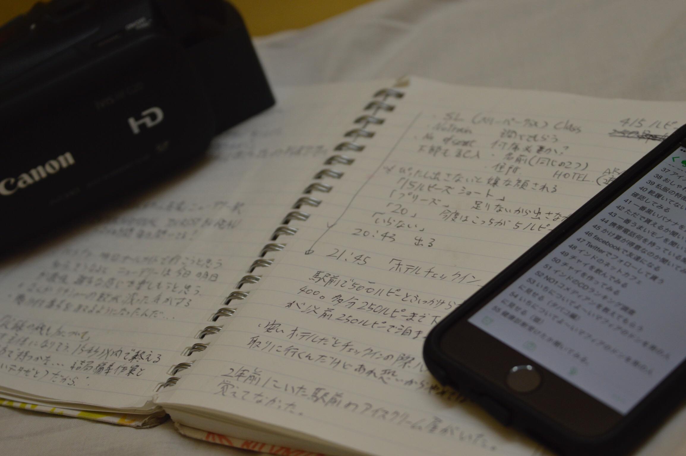 このインド旅の日記を書く
