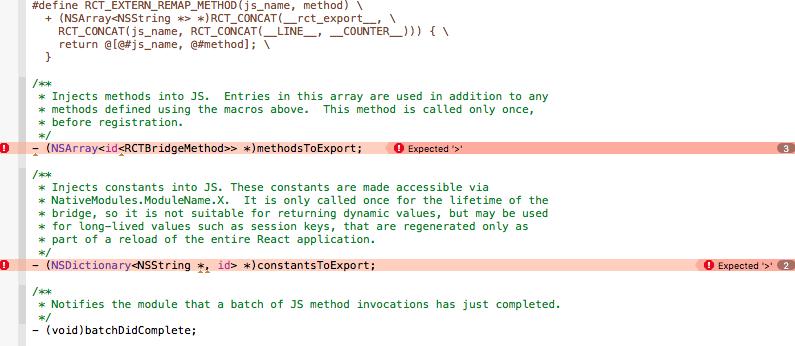 【ReactNative】buildに失敗してRCT_EXPORT_METHOD errorが出たら