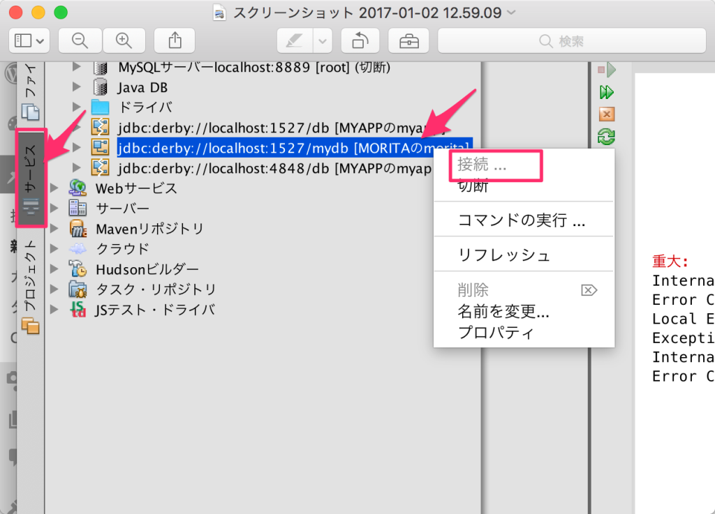 【NetBeans/glassFish】これが出たら。Exception [EclipseLink-4002 org.eclipse.persistence.exceptions.DatabaseException