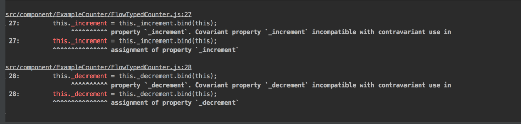 【flowtype/React/Class】これ。how to fix 「Covariant property `[fn]` incompatible with contravariant use in ``` assignment of property `[fn]`」