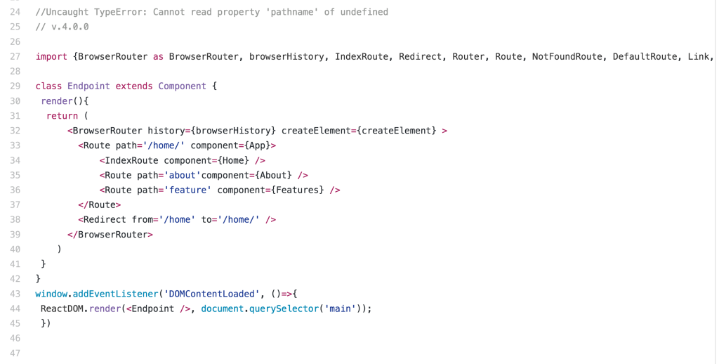 .Uncaught TypeError: Cannot read property 'pathname' of undefined