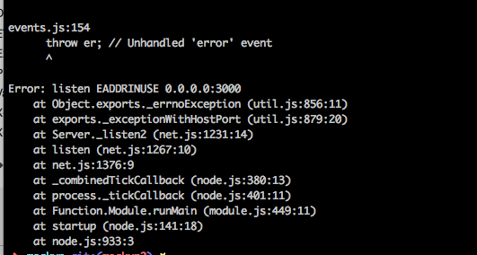 【json-server-watch db.json】エラー「events.js:154 throw er; // Unhandled 'error' event ^Error: listen EADDRINUSE 0.0.0.0:3000」