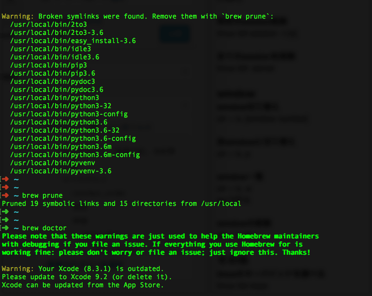 brew doctorで「Python is installed at /Library/Frameworks/Python.framework」