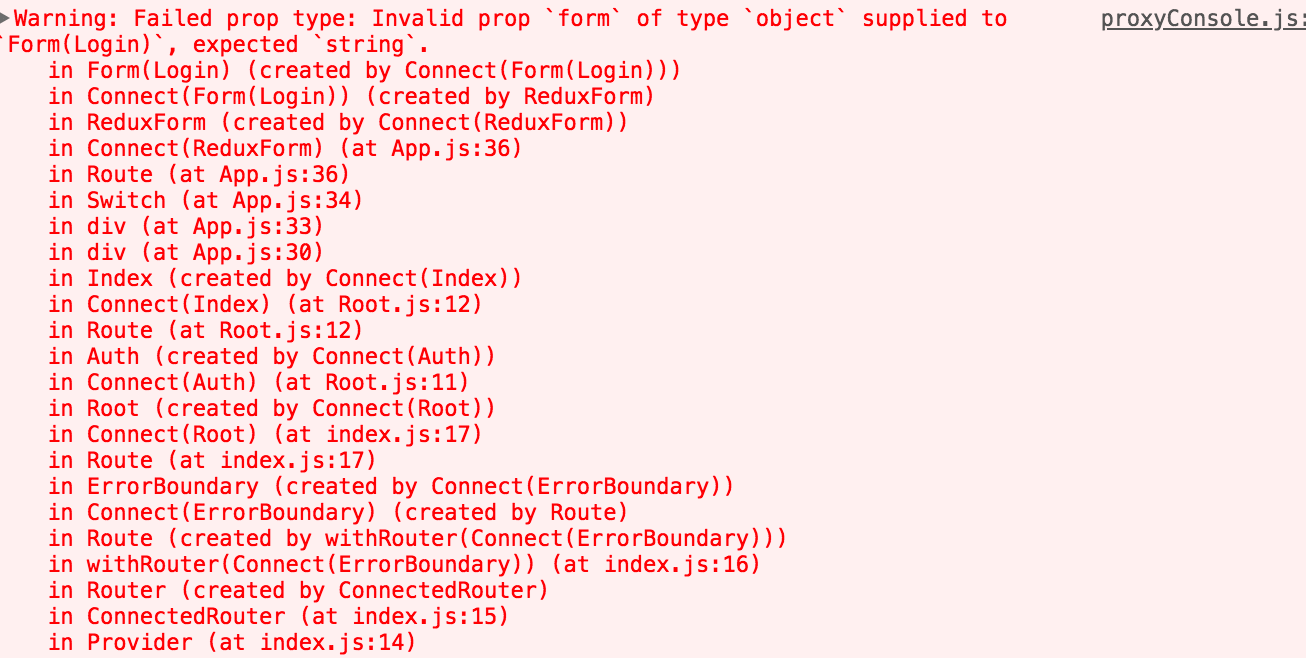 【redux-form】結構はまったこれ「Failed prop type: Invalid prop `form` of type `object` supplied to」
