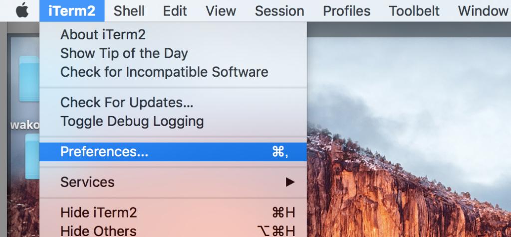 Macの左上iTerm2のpreferencesを開く
