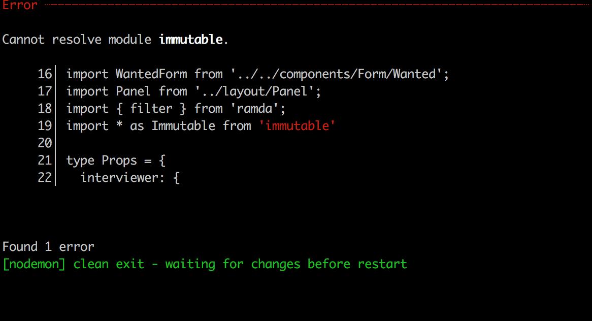 Cannot resolve module immutable.