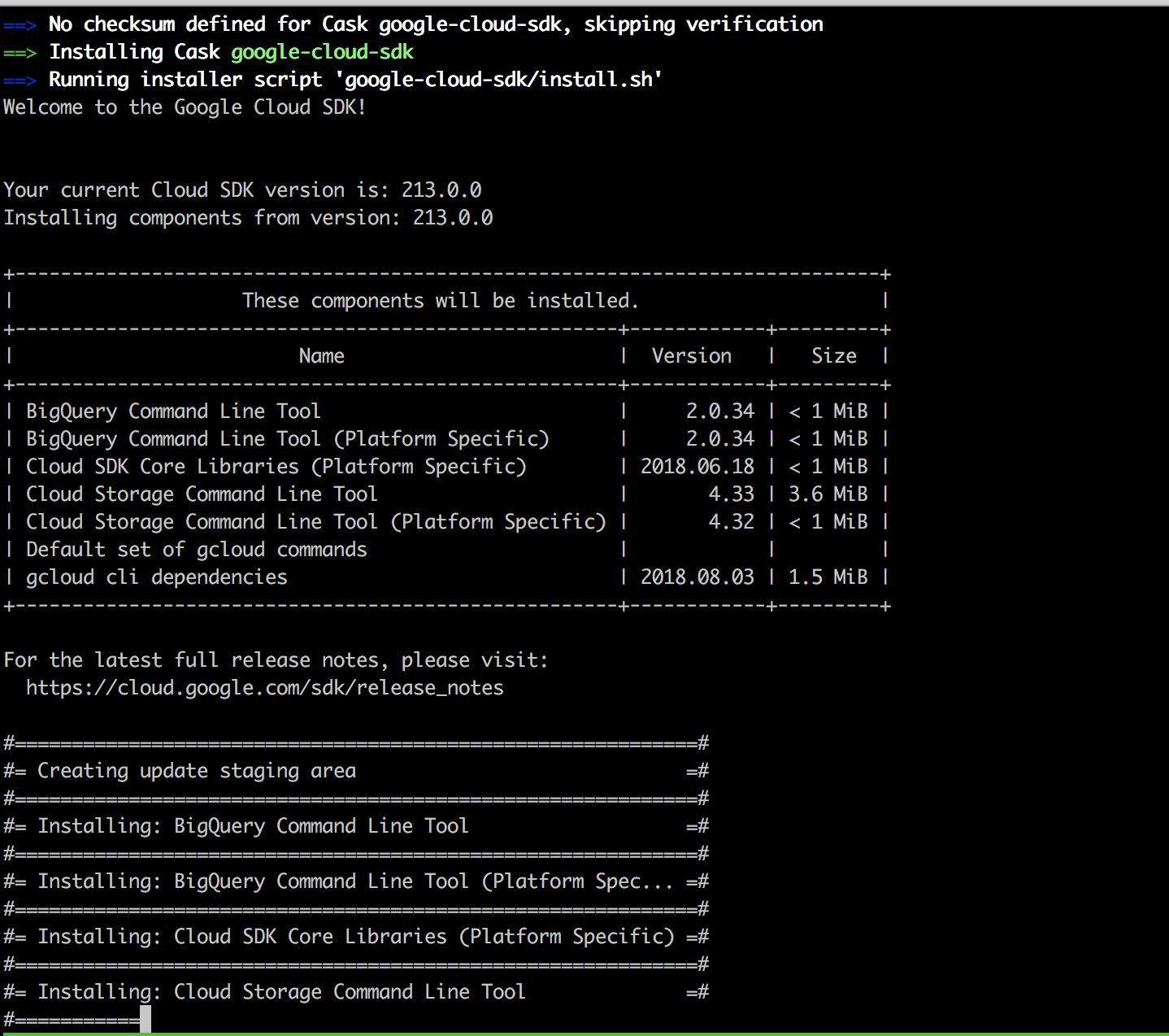 インストールされている様子【GoogleCloudPlatform】HomebrewでGoogle Cloud SDKをMacローカルにインストール