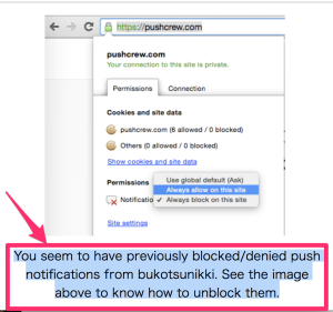 【Pushcrew】解決!「You seem to have previously blocked/denied push notifications from bukotsunikki. See the image above to know how to unblock them.」