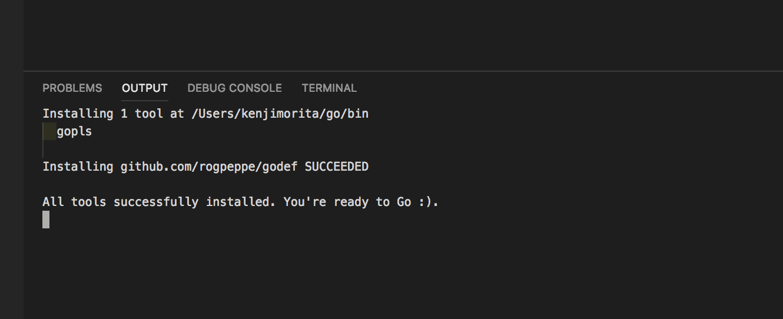 installingされている【Golang】VSCodeでgoの定義元にジャンプしたい場合(Go To Definition)
