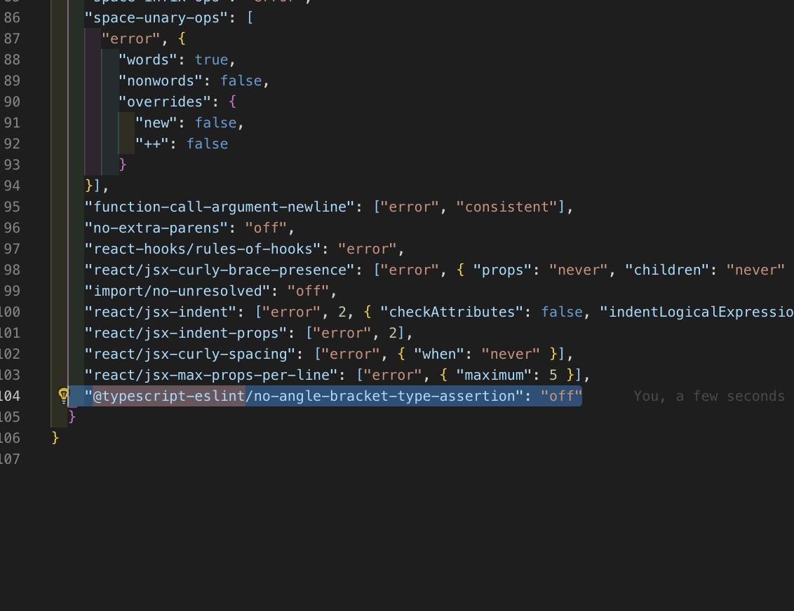 ここにこうするだけ【ESLint】解決: Definition for rule '@typescript-eslint/no-angle-bracket-type-assertion' was not found @typescript-eslint/no-angle-bracket-type-assertion