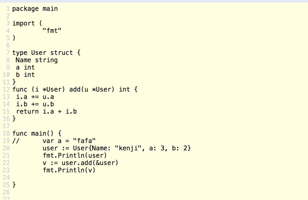 レシーバーで受け取ってstruct内の値をメソッドで渡された値を足して、Userオブジェクトの値を変更する
