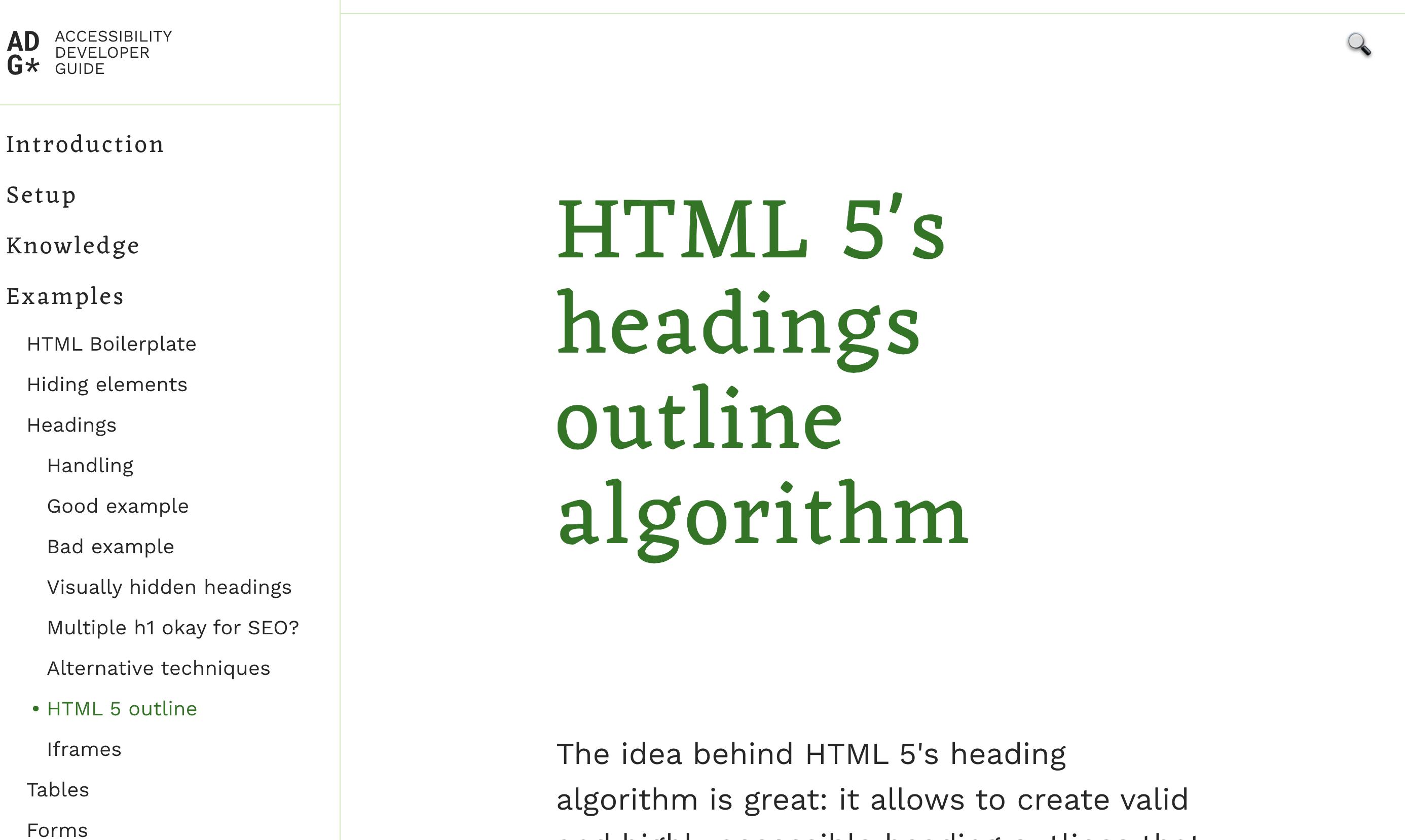 HTML 5's headings outline algorithm
