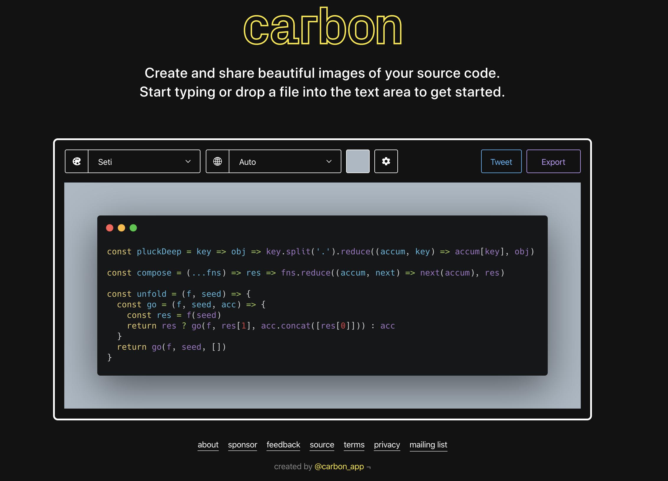 【いいね】「carbon」美しい画像でコードをシェアしてくれるサービス