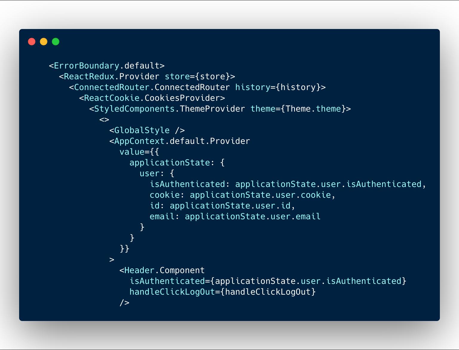 contextAPIでユーザー情報を流し込んでいる