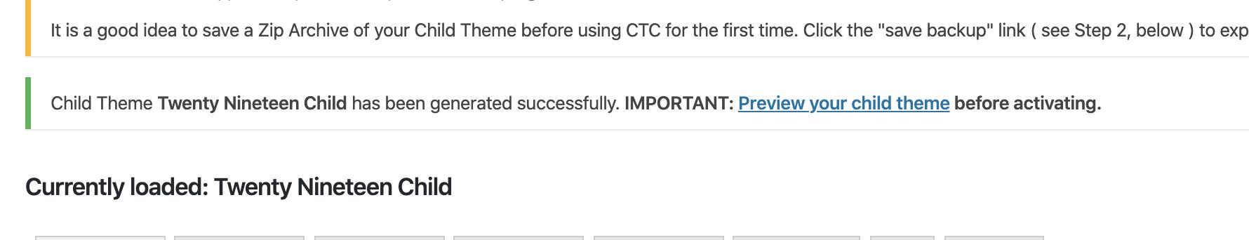 今度はちゃんと「Child Theme Configurator」で子テーマが作られました【解決!!】急に!!「現在、このページへのアクセスは禁止されています。 サイト管理者の方はページの権限設定等が適切かご確認ください」